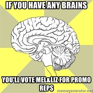 Traitor Brain - IF you have any brains You'll vote mel&Liz for promo reps