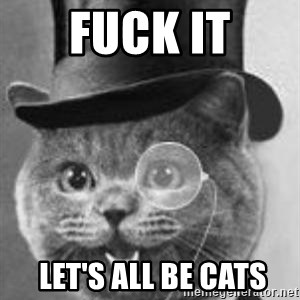Monocle Cat - Fuck it  let's all be cats