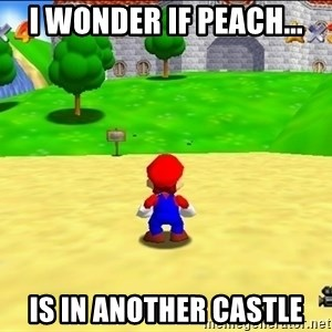 Mario looking at castle - I WONDER IF PEACH... IS IN ANOTHER CASTLE
