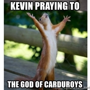 Thanking Squirrel - KEVIN PRAYING TO  THE GOD OF CARDUROYS