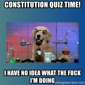 Chemistry Dog - Constitution Quiz Time! I have no idea what the fuck I'm doing
