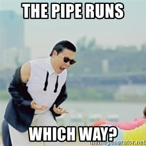 Gangnam Style - the pipe runs  which way?