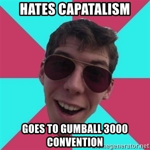 Hypocrite Gordon - hates capatalism goes to gumball 3000 convention