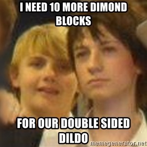 Thoughtful Child - i need 10 more dimond blocks for our double sided dildo