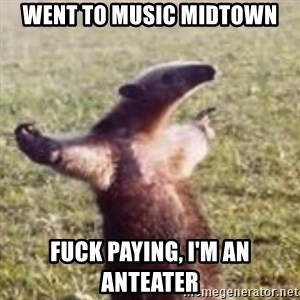 FUCK YOU, I'M AN ANTEATER - Went to music midtown fuck paying, i'm an anteater