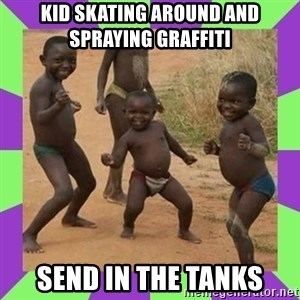 african kids dancing - KID SKATING AROUND AND SPRAYING GRAFFITI SEND IN THE TANKS