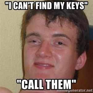 "really high guy - ""I can't find my keys"" ""call them"""