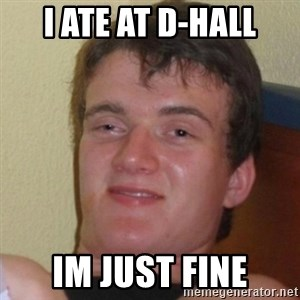 Really Stoned Guy - I ate at D-hall Im just fine