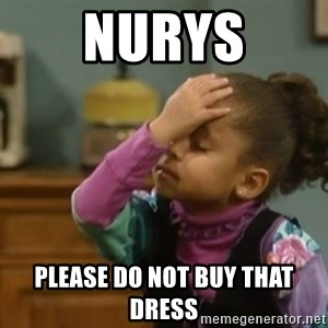 olivia cosby facepalm  - NUrys Please do nOt buy that dress