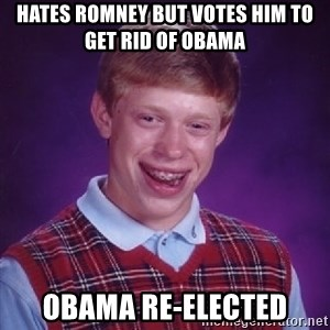 Bad Luck Brian - Hates Romney but votes him to get rid of obama obama re-elected
