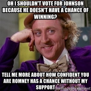 Willy Wonka - Oh I shouldn't vote for Johnson because he doesn't have a chance of winning? tell me more about how confident you are ROmney has a chance without my support