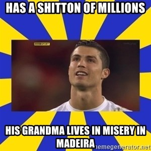 CRISTIANO RONALDO INYUSTISIA - has a shitton of millions his grandma lives in misery in madeira