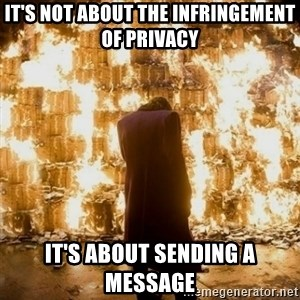Sending a Message - it's not about the infringement of privacy it's about sending a message