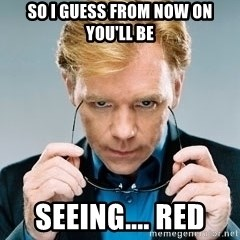 David Caruso CSI - So I guess from now on you'll be Seeing.... Red
