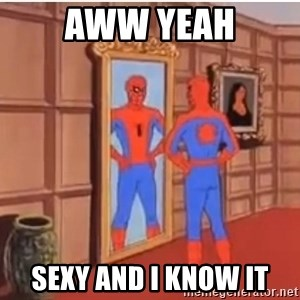 Spiderman Mirror - Aww yeah Sexy and I know it