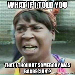 Sweet Brown Meme - what if i told you that i thought somebody was barbecuin'?