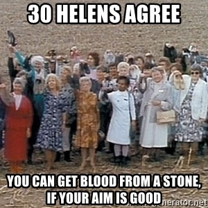 30 helens agree - 30 Helens agree you can get blood from a stone, if your aim is good