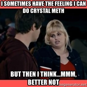 Doubtful Fat Amy  - I sometimes have the feeling i can do crystal meth but then i think...mmm, better not