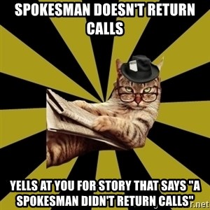 """Frustrated Journalist Cat - spokesman doesn't return calls yells at you for story that says """"a spokesman didn't return calls"""""""
