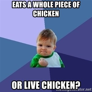 Success Kid - eats a whole piece of chicken or live chicken?