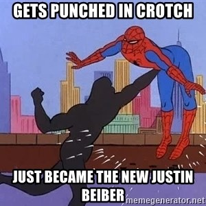 crotch punch spiderman - gets punched in crotch just became the new justin beiber