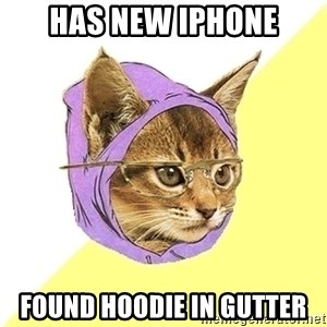 Hipster Kitty - has new iphone found hoodie in gutter