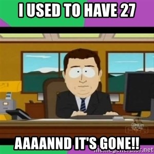 south park it's gone - I USED TO HAVE 27 AAAANND IT'S GONE!!