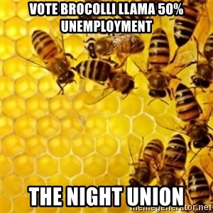 Honeybees - VOTE BROCOLLI LLAMA 50% UNEMPLOYMENT THE NIGHT UNION