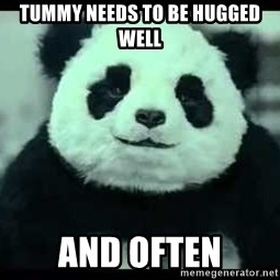 Never say no to Panda - TUMMY NEEDS TO BE HUGGED WELL  AND OFTEN
