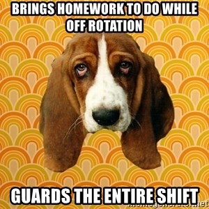 SAD DOG - brings homework to do while off rotation guards the entire shift