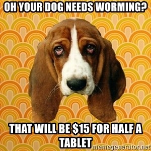 SAD DOG - oh your dog needs worming? that will be $15 for half a tablet