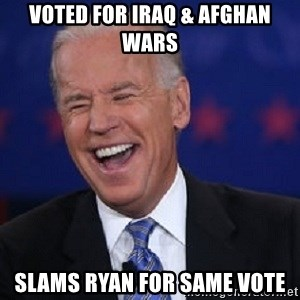 Condescending Joe - Voted for Iraq & Afghan wars Slams Ryan for same vote