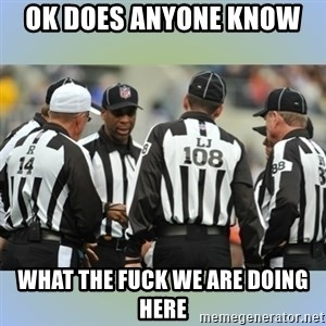 NFL Ref Meeting - OK DOES ANYONE KNOW  WHAT THE FUCK WE ARE DOING HERE