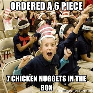 Super Excited Kid - Ordered a 6 piece 7 chicken nuggets in the box