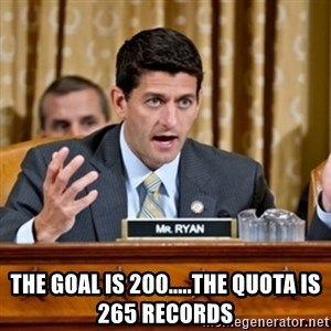 Paul Ryan Meme  - the goal is 200.....the quota is 265 records
