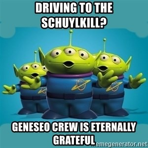 Toy story aliens - Driving to the schuylkill? geneseo crew is eternally grateful
