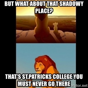 Lion King Shadowy Place - But what about that shadowy place? that's st.patricks college you must never go there