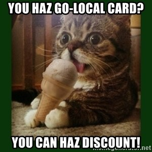 lil bub - You haz go-local card? You can haz discount!