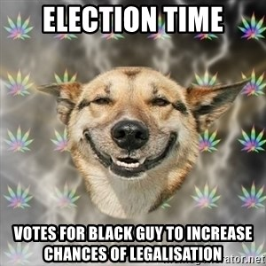 Stoner Dog - election time votes for black guy to increase chances of legalisation
