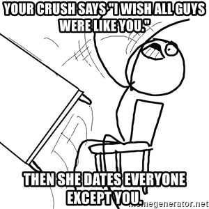 "Desk Flip Rage Guy - your crush says ""I wish all guys were like you."" then she dates everyone except you."