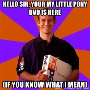 FedSex Shipping Guy - Hello sir, your my little pony dvd is here (if you know what i mean)