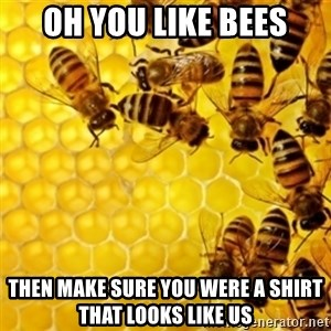 Honeybees - oh you like bees then make sure you were a shirt that looks like us