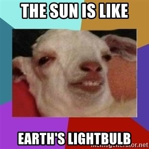 High goat - the sun is like earth's lightbulb