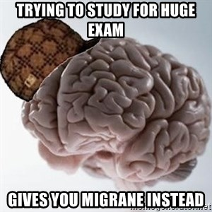 Scumbag Brain - trying to study for huge exam gives you migrane instead