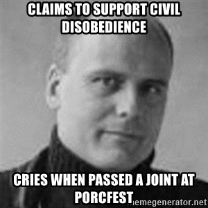 Stefan Molyneux  - Claims to Support civil disobedience Cries when passed a Joint at Porcfest