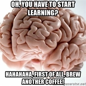 Brain clean - Oh, You have to Start LEARNING?  HAHAHAHA, First of all, Brew ANOTHER Coffee!