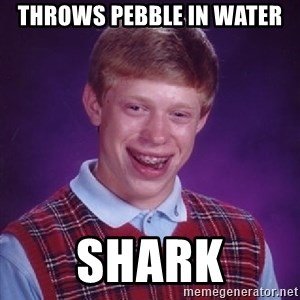 Bad Luck Brian - throws pebble in water shark