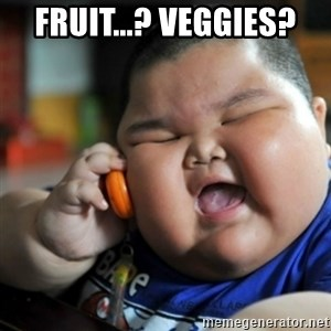 fat chinese kid - fruit...? veggies?