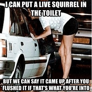 Karma prostitute  - I CAN PUT A LIVE SQUIRREL IN THE TOILET bUT WE CAN SAY IT CAME UP AFTER YOU FLUSHED IT IF THAT'S WHAT YOU'RE INTO