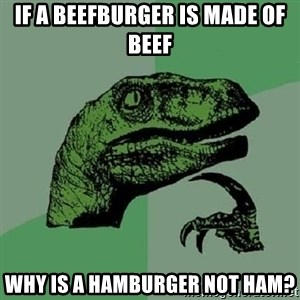 Philosoraptor - IF A BEEFBURGER IS MADE OF BEEF WHY IS A HAMBURGER NOT HAM?